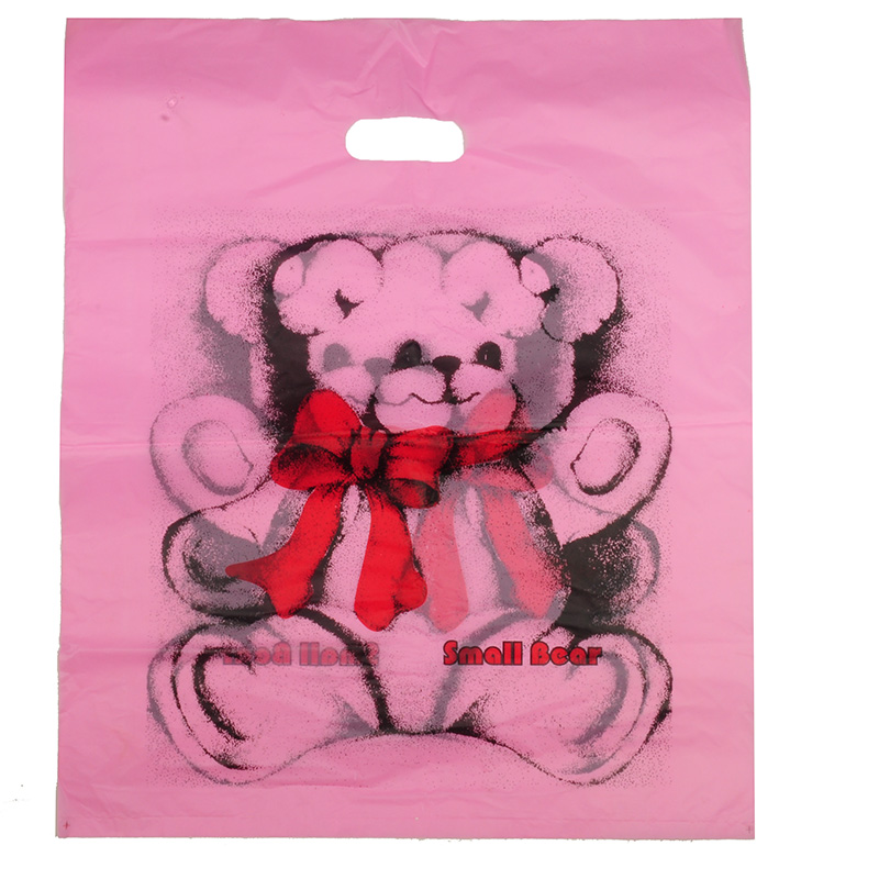 HGRQ240 B - Large Fushia Bear 50*60cm Carrier Bag*100pcs