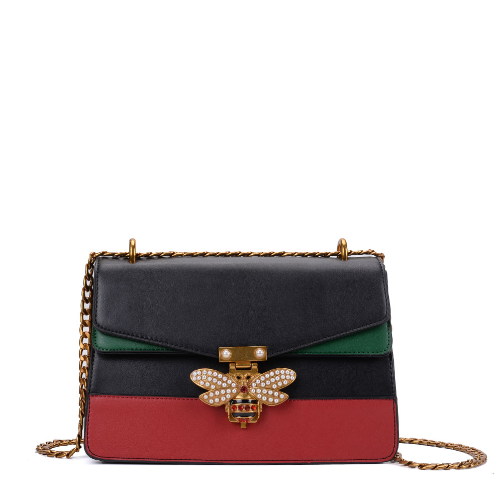 K0001 Black - Patchwork Bee Lock Chain Crossbody Bag