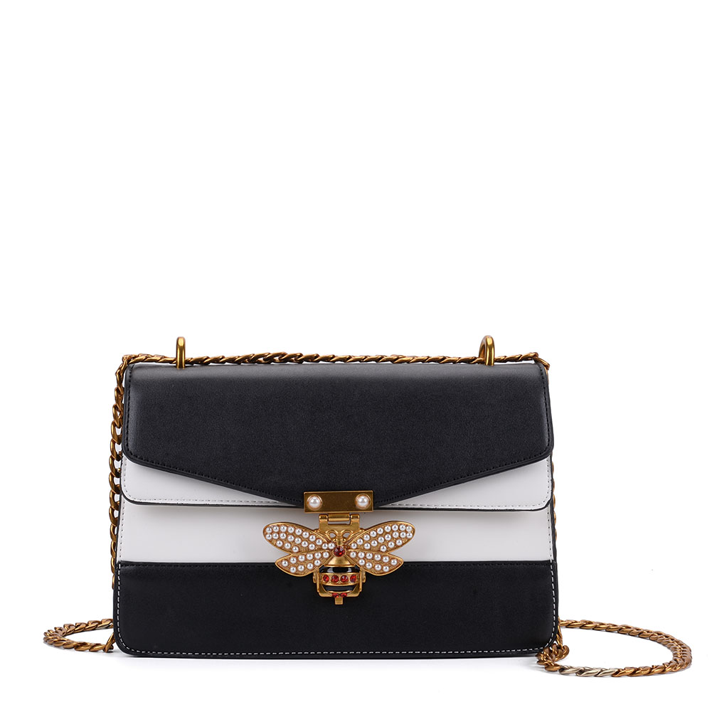 K0001 Black&White Assort - Patchwork Bee Lock Chain Crossbody Bag
