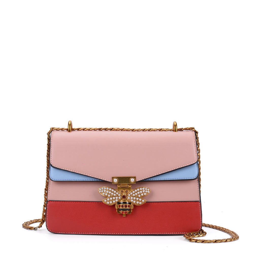K0001 Pink - Patchwork Bee Lock Chain Crossbody Bag