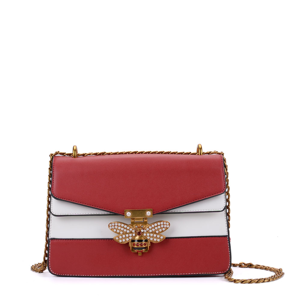 K0001 Red - Patchwork Bee Lock Chain Crossbody Bag