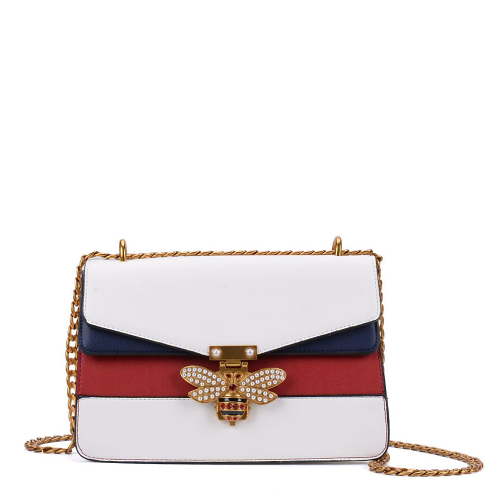 K0001 White - Patchwork Bee Lock Chain Crossbody Bag