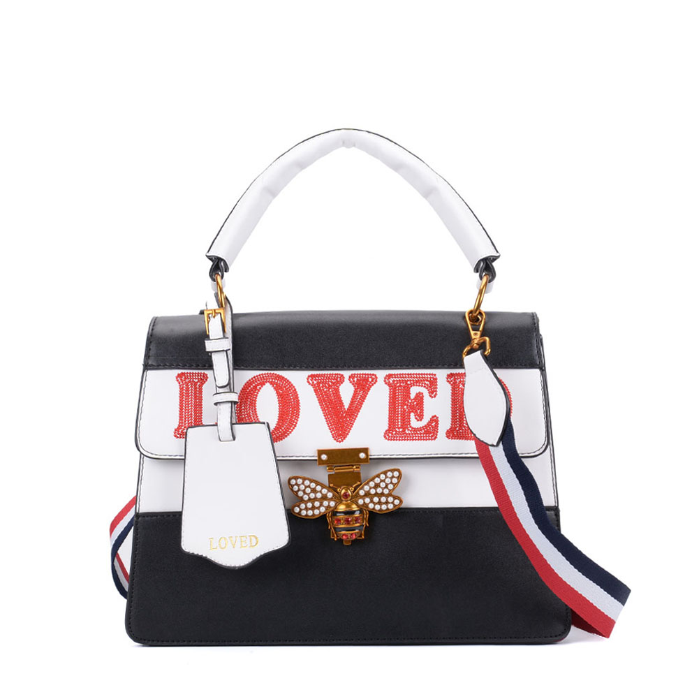 K0002 Black - Contrast Bee Lock Tote Bag With Strap
