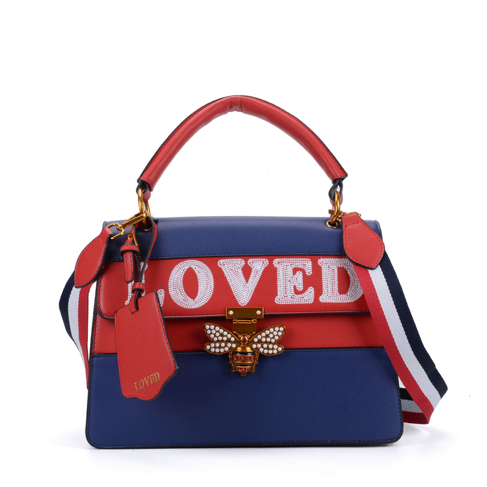 K0002 Blue - Contrast Bee Lock Tote Bag With Strap