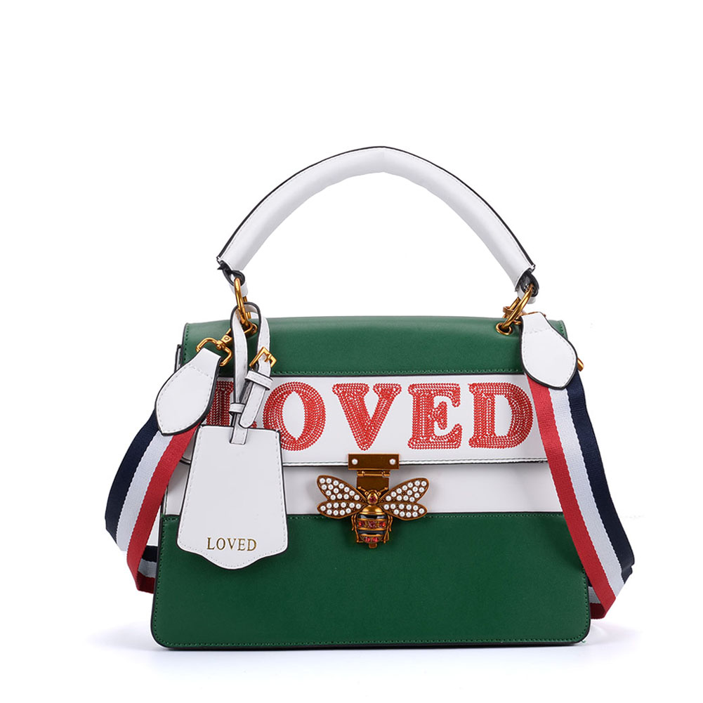 K0002 Green - Contrast Bee Lock Tote Bag With Strap