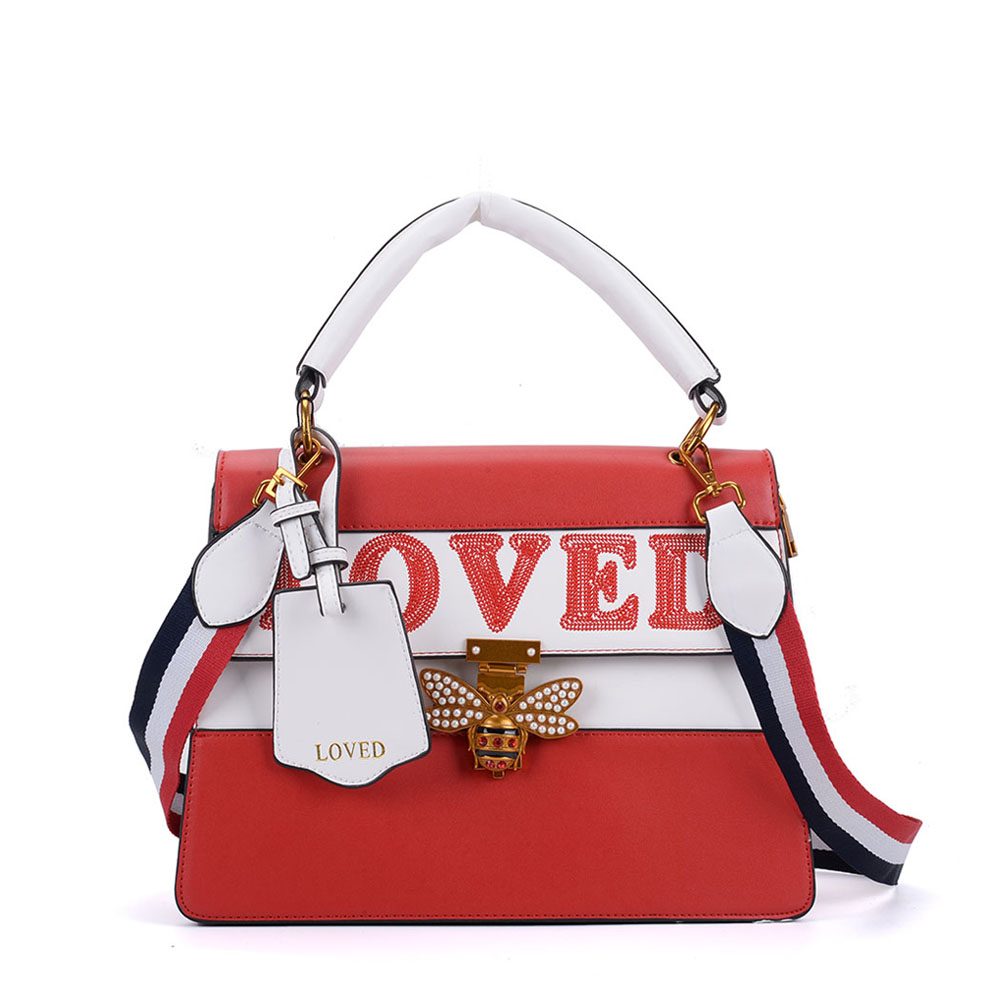 K0002 Red - Contrast Bee Lock Tote Bag With Strap