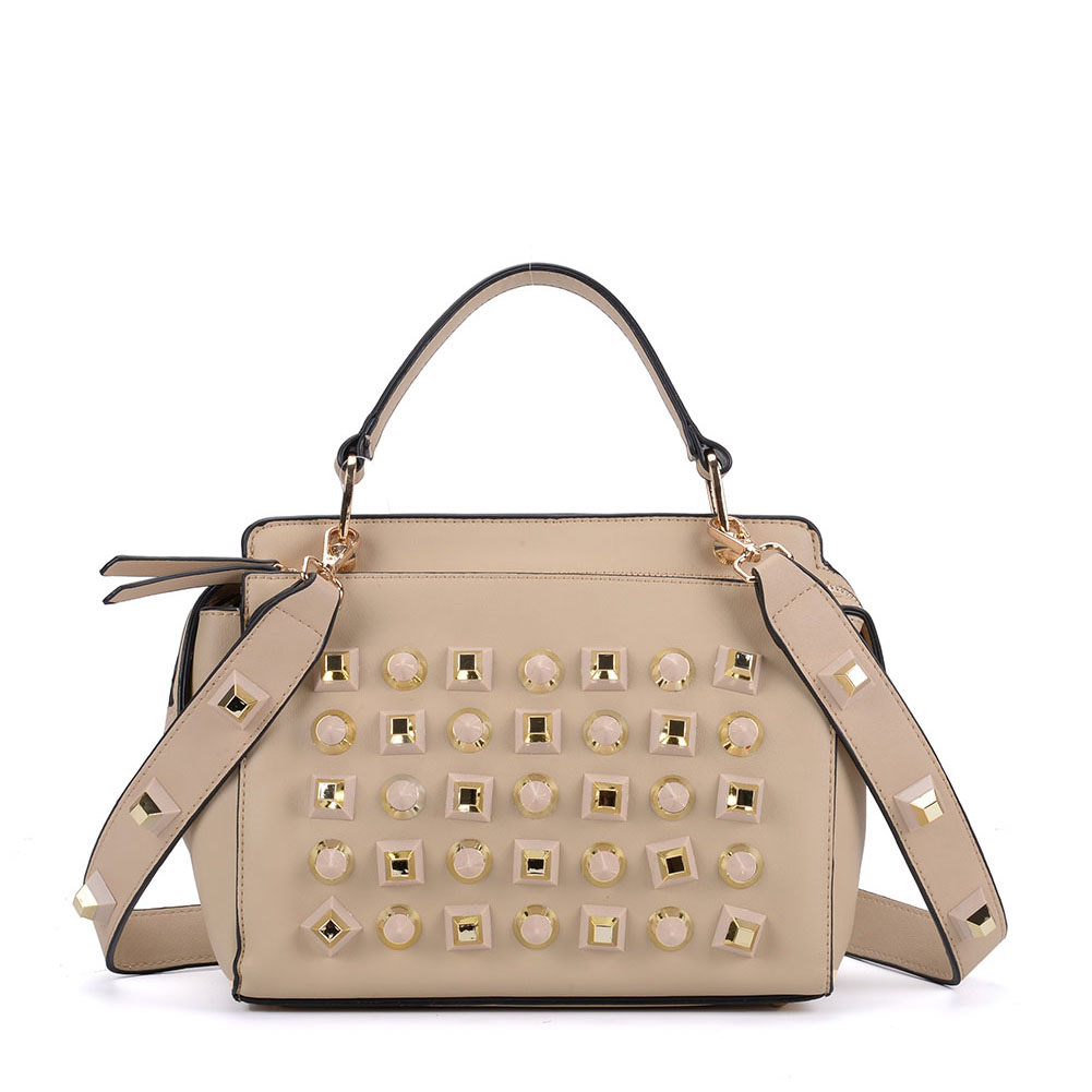 K0006 Beige - Fashion Women Tote Bag With Peral