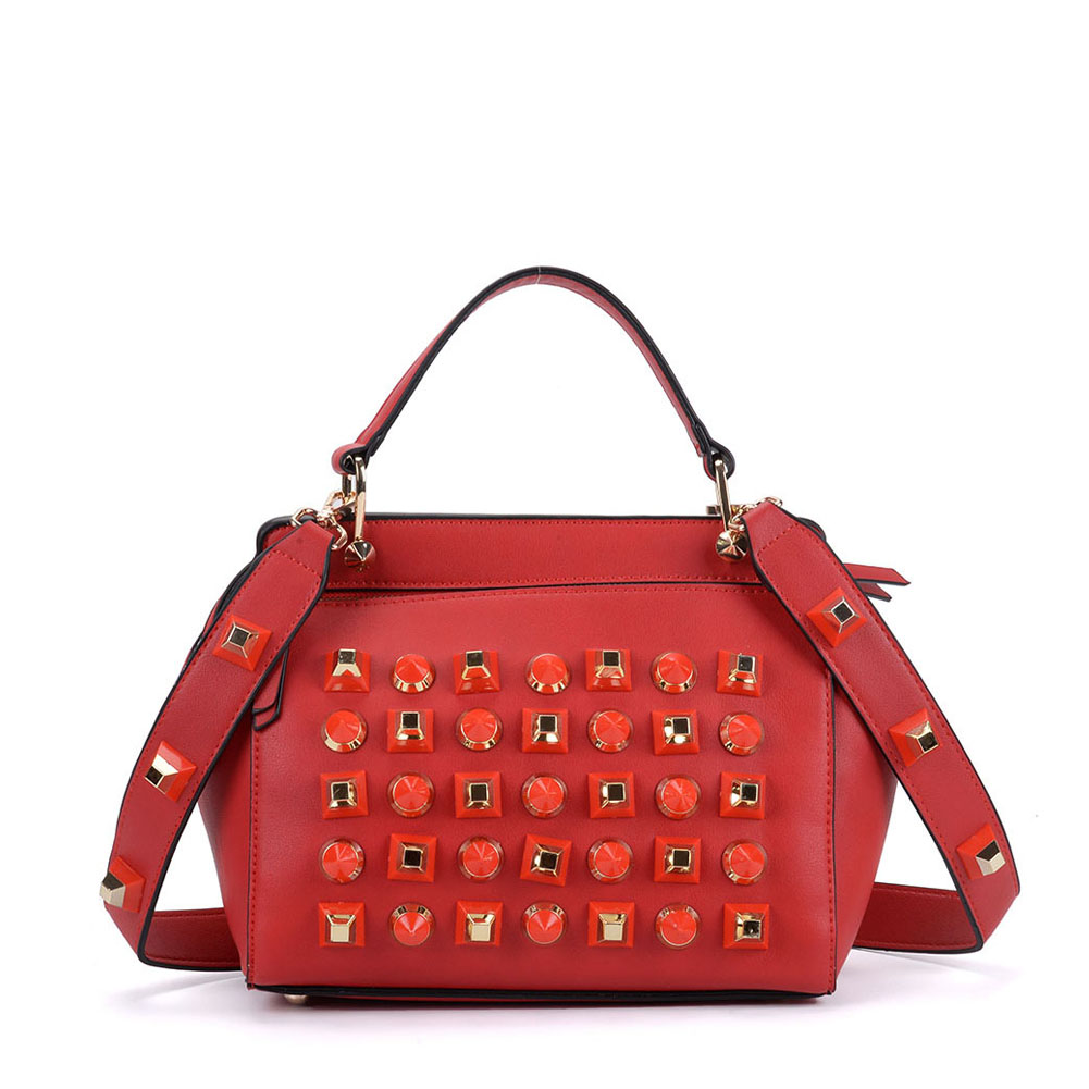 K0006 Red - Fashion Women Tote Bag With Peral