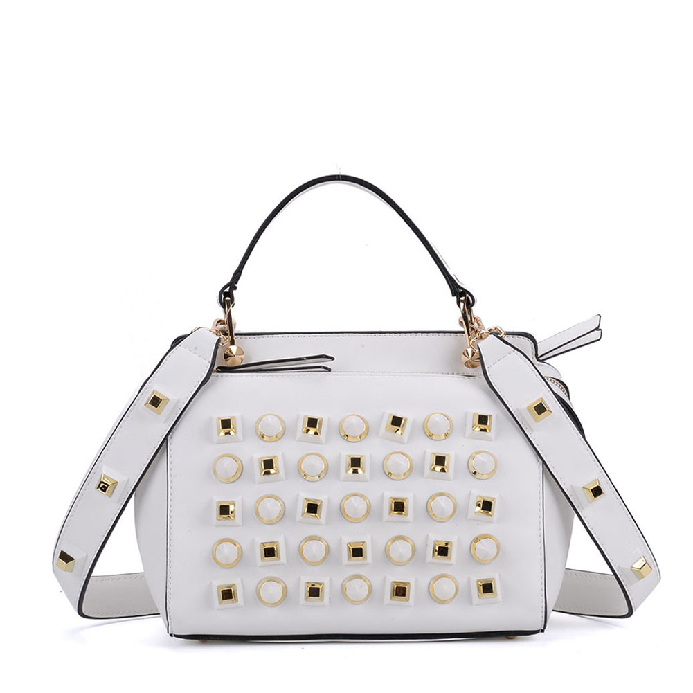 K0006 White - Fashion Women Tote Bag With Peral