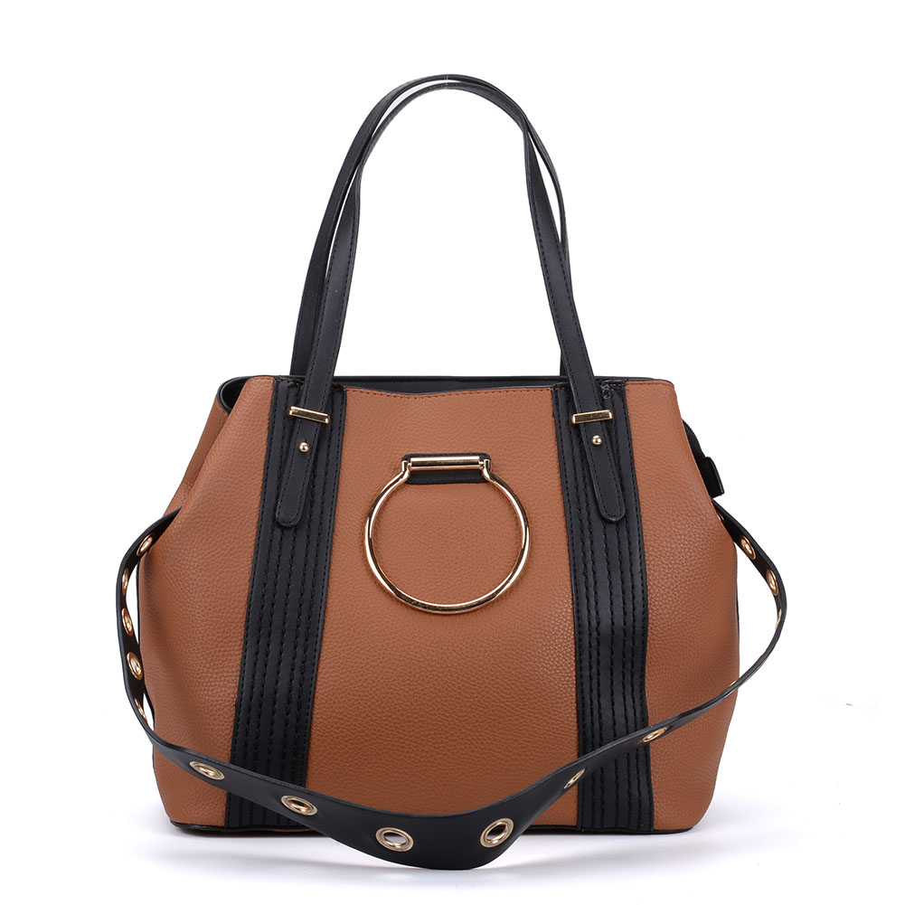 K0053 Tan - Ring Detail Large Tote Bag With Contrast Strap