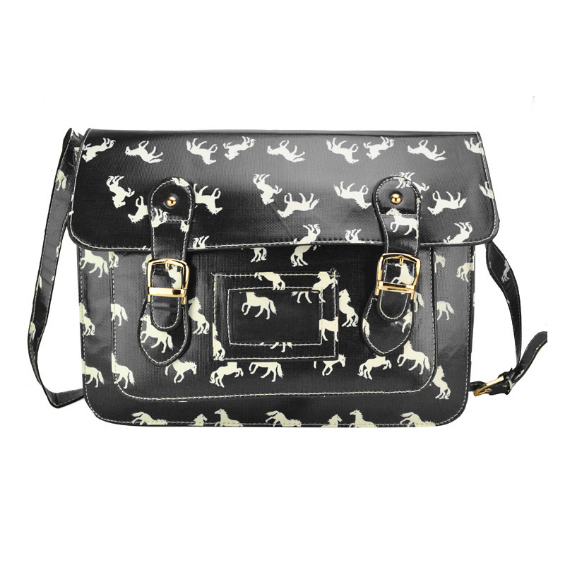 QQ1804 Black - Cambridge Style Horse pattern Satchels Messenger Bag