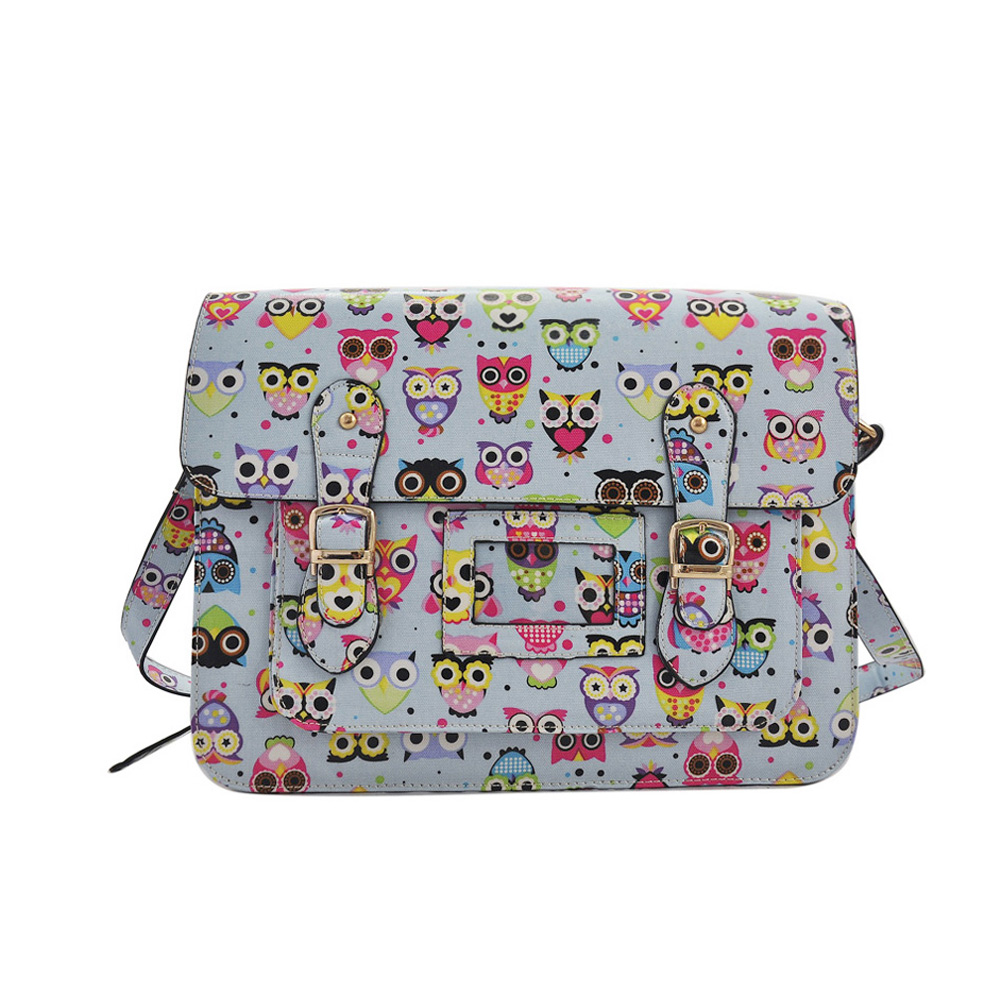 QQ1805 Light Blue - Cambridge Style Owl Printing Satchels Messenger Bag