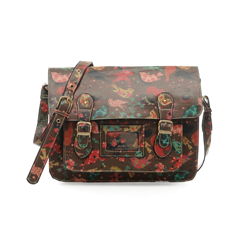 QQ1806 Apricot - Cambridge Style Bird Pattern Satchels Messenger Bag