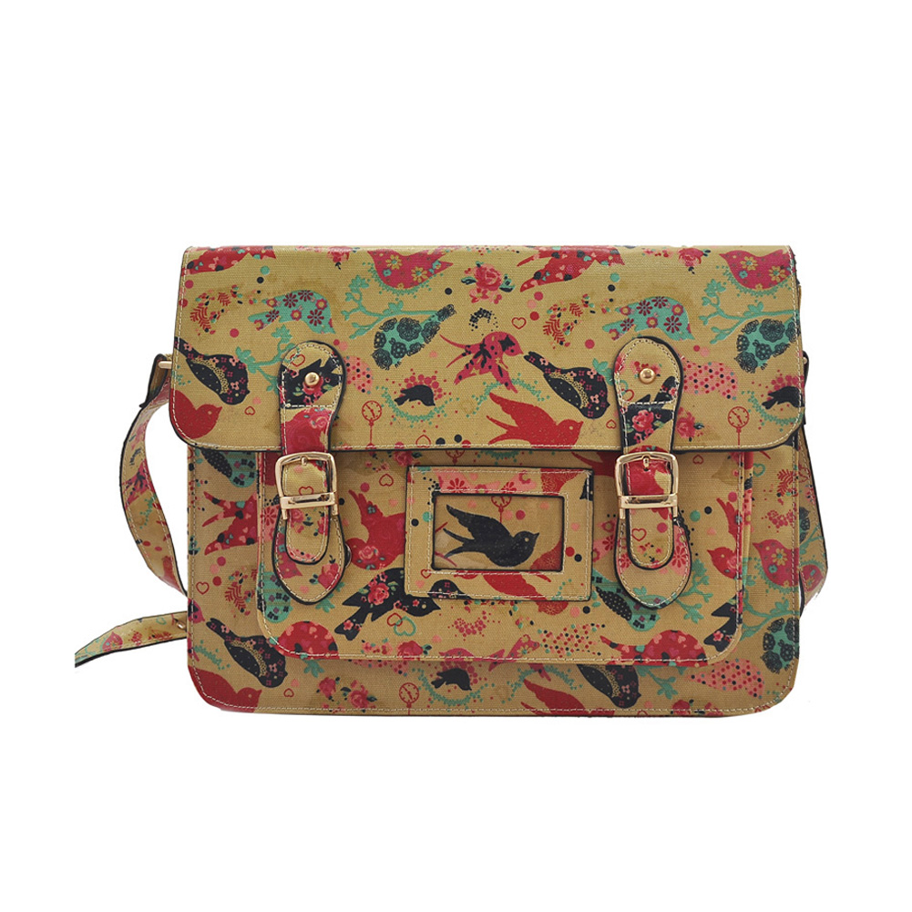 QQ1806 Blue - Cambridge Style Bird Pattern Satchels Messenger Bag