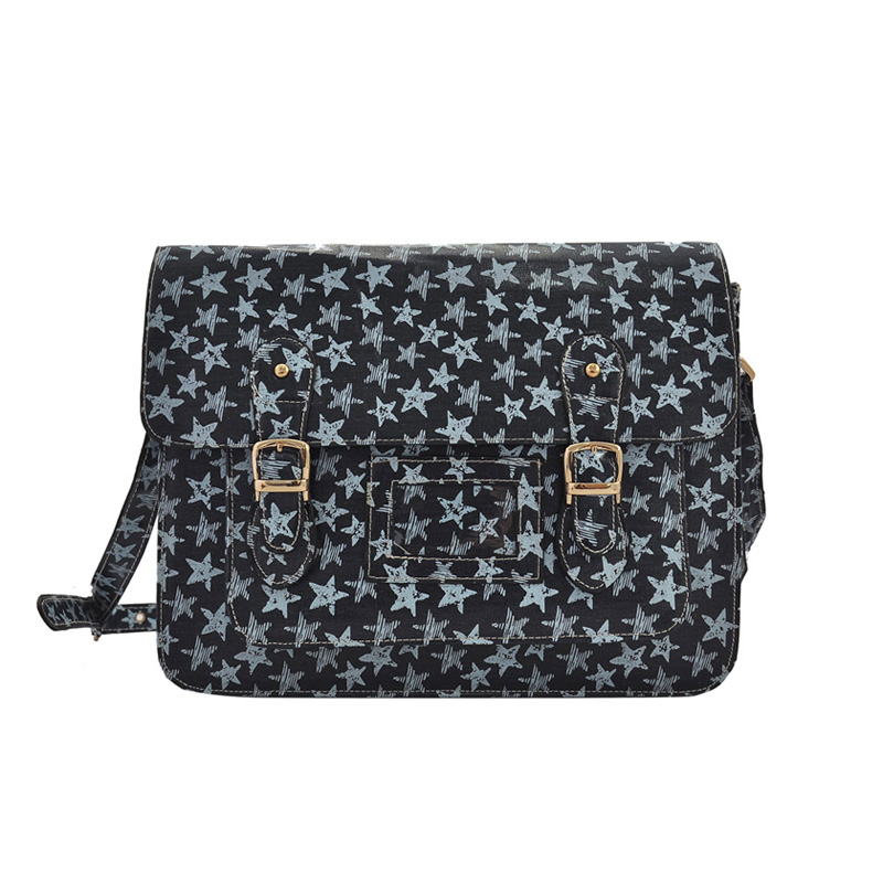 QQ1811 Blue - Fashion Cambridge Style Star Pattern Satchels Messenger Bag