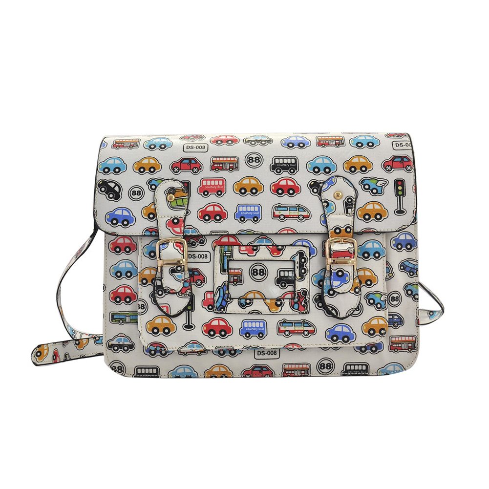QQ1812 White - Fashion Cambridge Style Star Pattern Satchels Messenger Bag