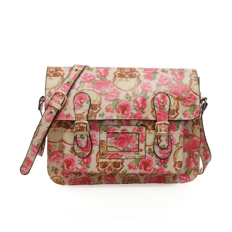 QQ1813 White - Fashion Cambridge Style Flower Pattern Satchels Messenger Bag