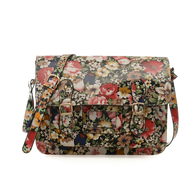 QQ1815 Black - Cambridge Style Floral Pattern Satchels Messenger Bag