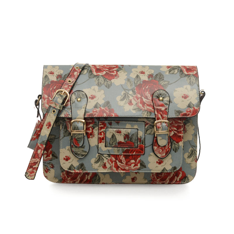QQ1815 Light Blue - Fashion Cambridge Style Floral Pattern Satchels Messenger Bag