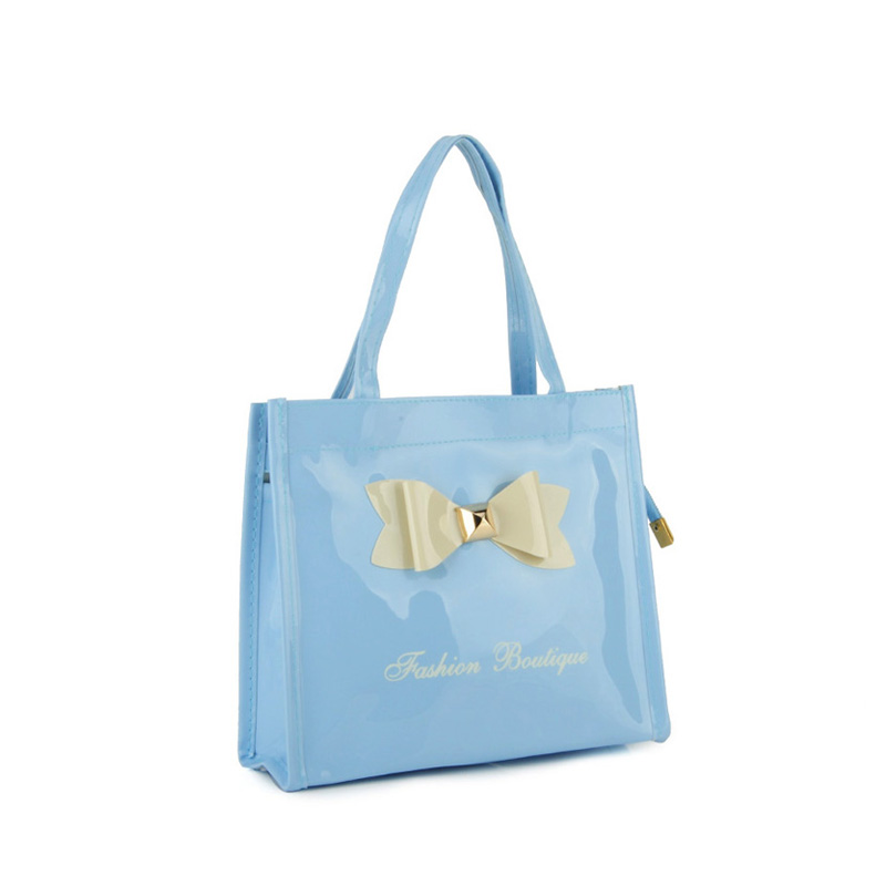 QQ2021-2 Light blue - Contrast Color Design Bowknot Decoration Patent Women Handbag