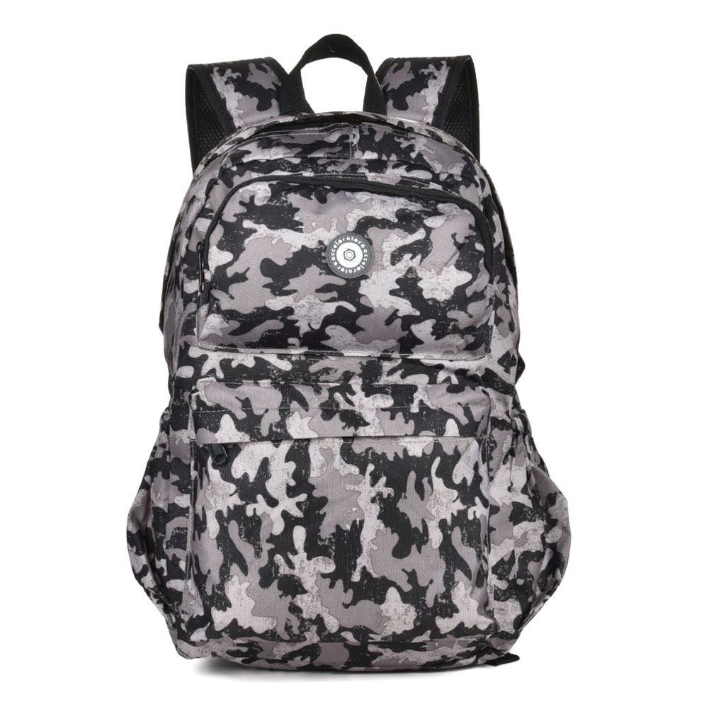 QQ2143 Black - Simple Travel Oxford Camouflage Backpack School Rucksack