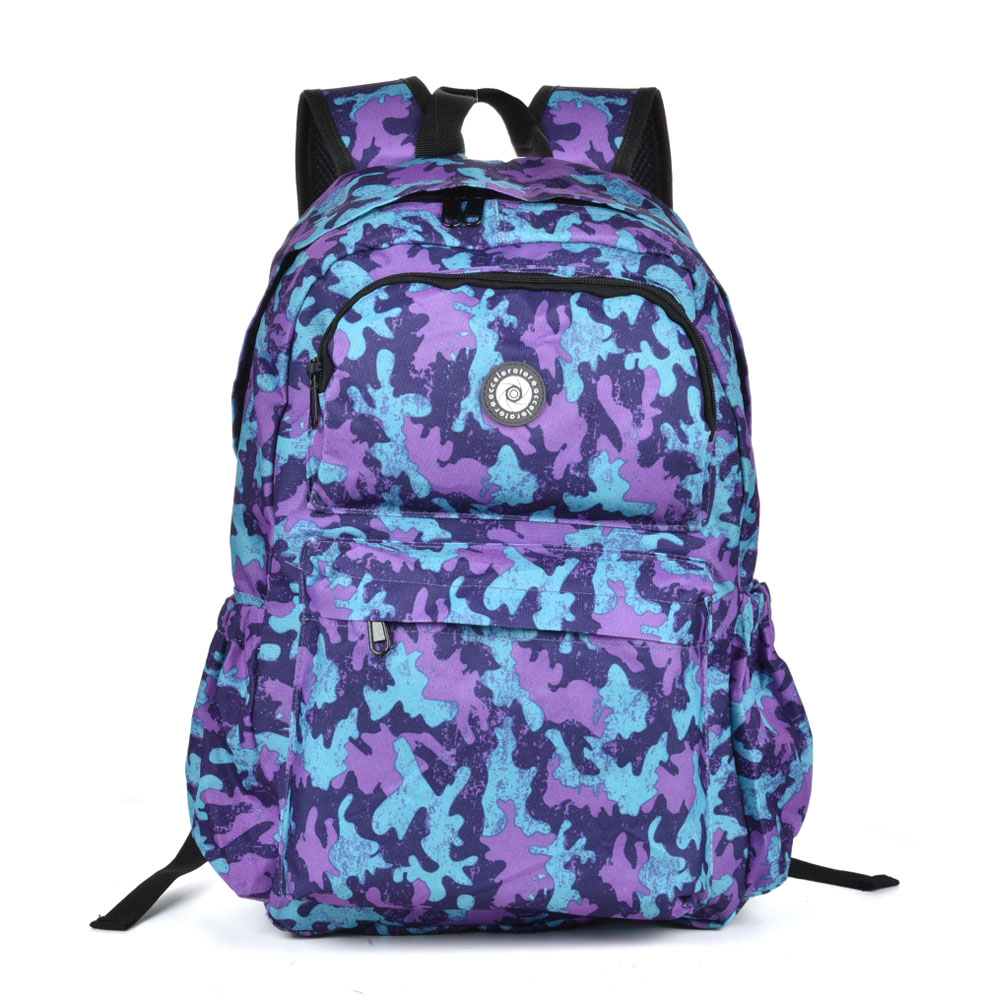 QQ2143 Purple - Simple Travel Oxford Camouflage Backpack School Rucksack