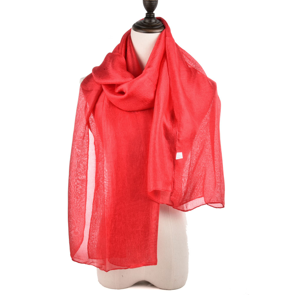 SF944 Red - Fashion Women Solid Light Scarf
