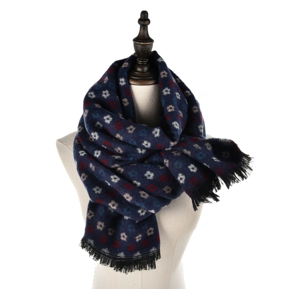 SF950 Blue - Oversized Soft Scarf With More Small Floral Decorated