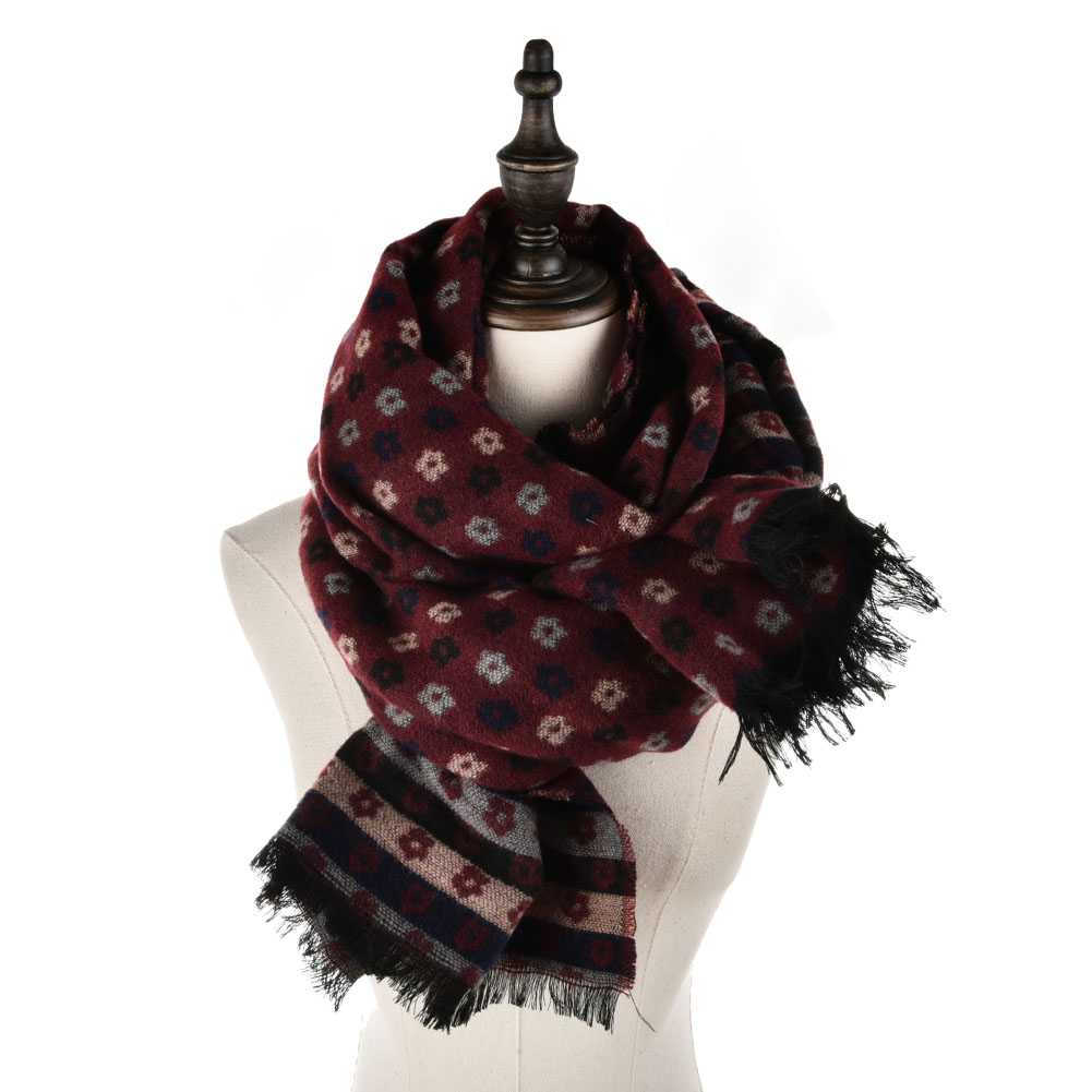 SF950 Red - Oversized Soft Scarf With More Small Floral Decorated