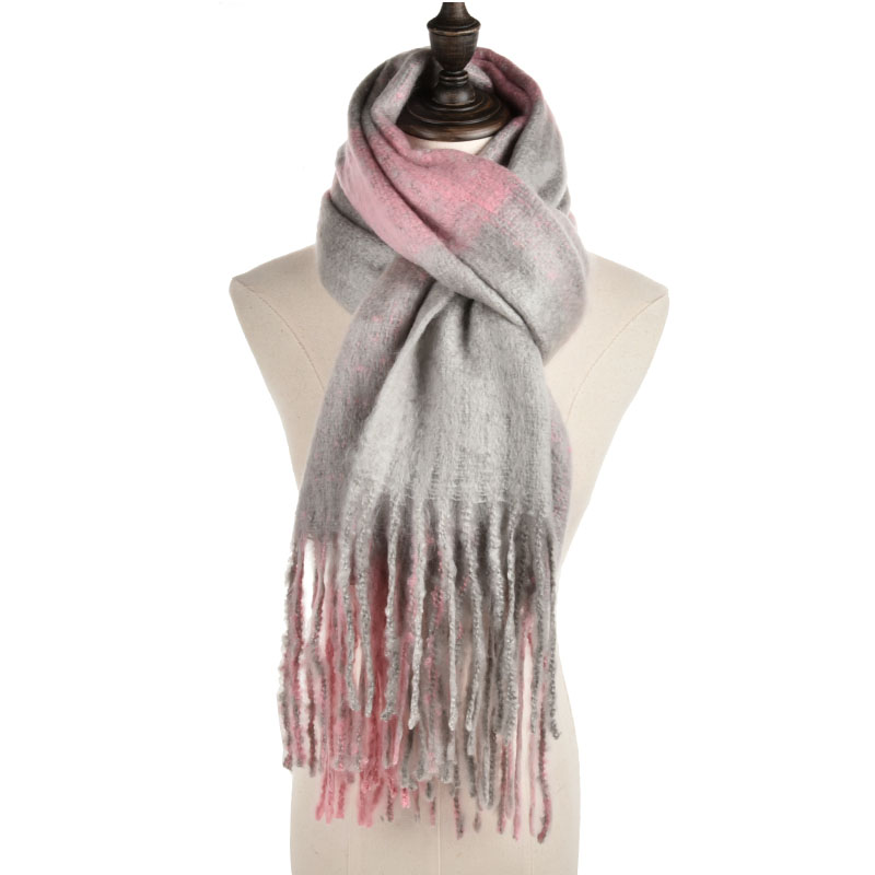 SF965 Pink - Women Fashion Scarf With Tassels