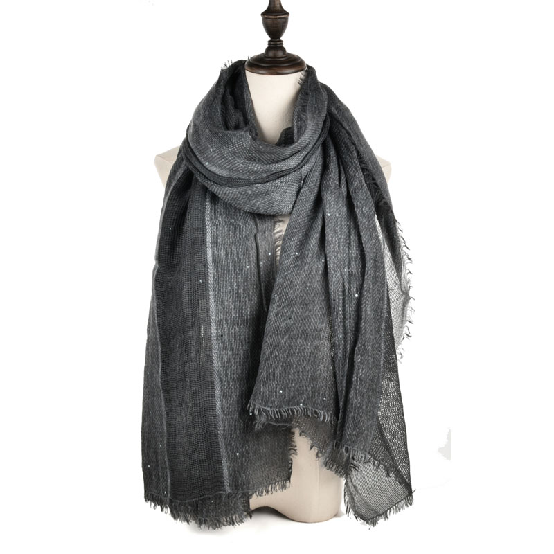 SF970 Black - Long Supersoft Plain Lady Scarf