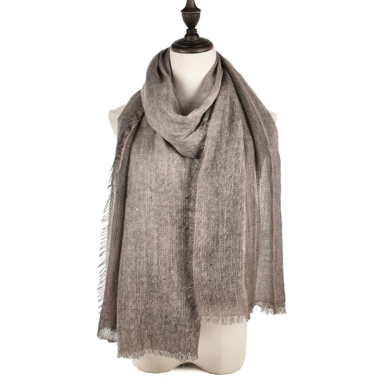 SF970 Khaki - Long Supersoft Plain Lady Scarf