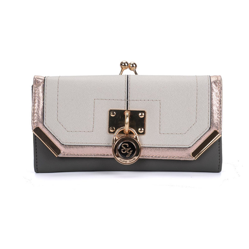SY1441-1 Grey - Sally Young Fashion Splicing Design Metal Frame Padlock Decoration Kiss-lock Purse