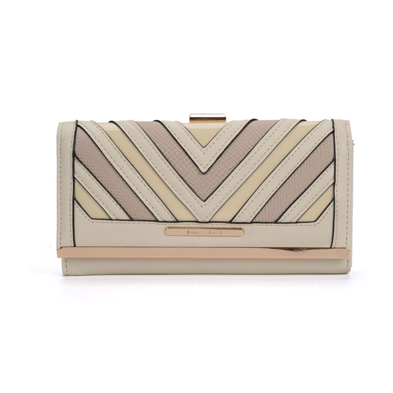 SY1523-1 Beige - Sally Young Fashion Stripes Patchwork Multifunction Women Purse