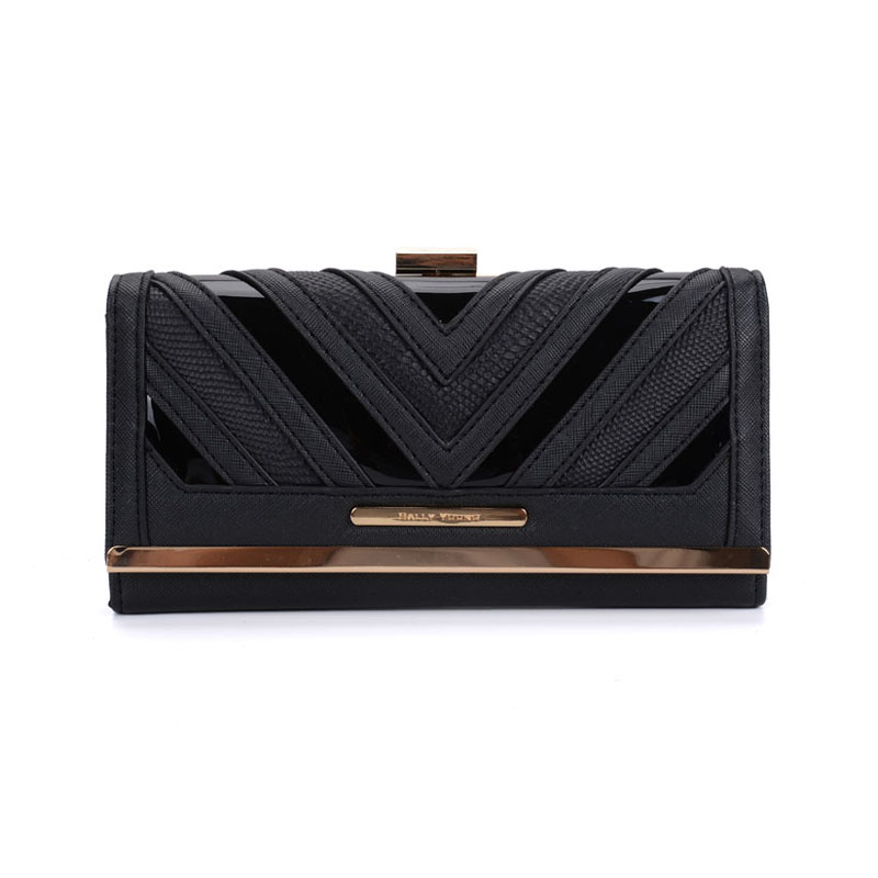SY1523-1 Black - Sally Young Fashion Stripes Patchwork Multifunction Women Purse