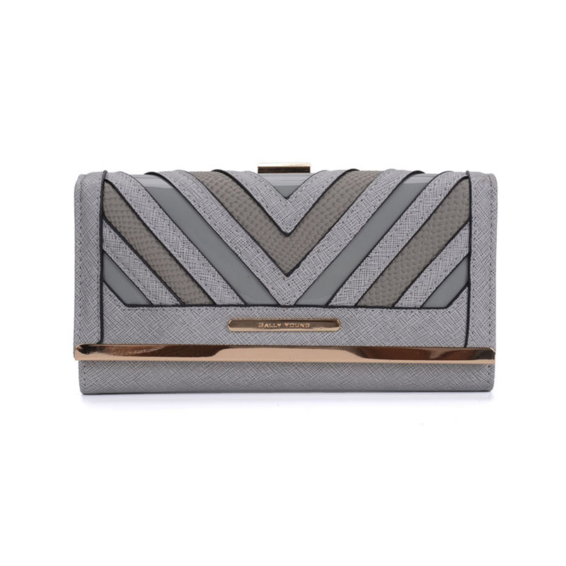 SY1523-1 Grey - Sally Young Fashion Stripes Patchwork Multifunction Women Purse