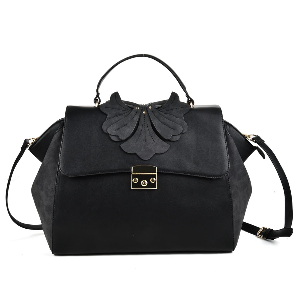 (Orchid) Sally Young Design Lock Front Satchel bag SY2112 Black