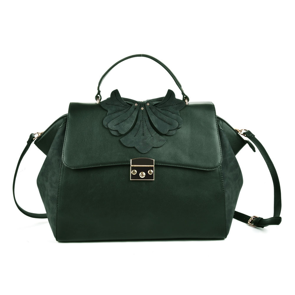 (Orchid) Sally Young Design Lock Front Satchel bag SY2112 Green