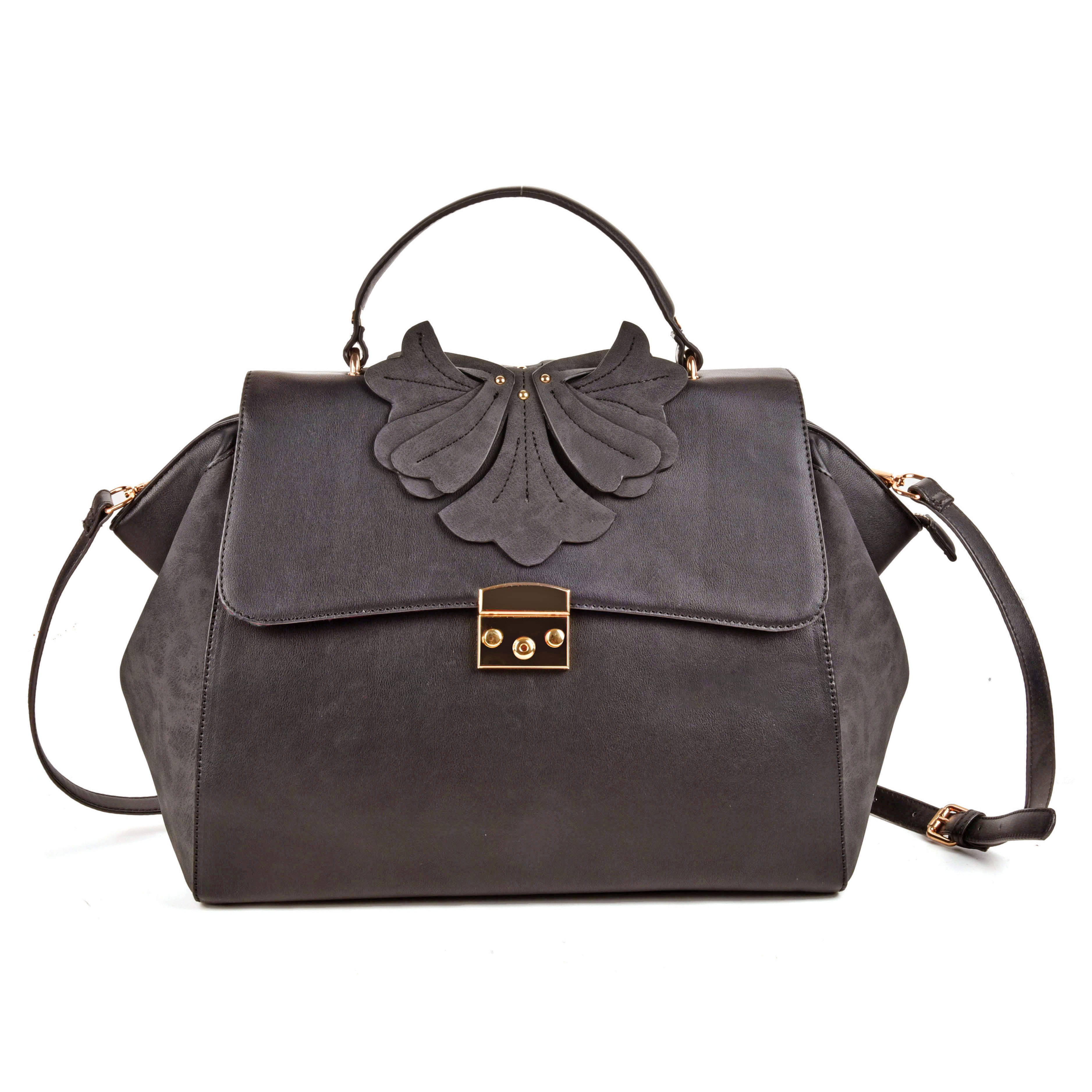 (Orchid) Sally Young Design Lock Front Satchel bag SY2112 Grey