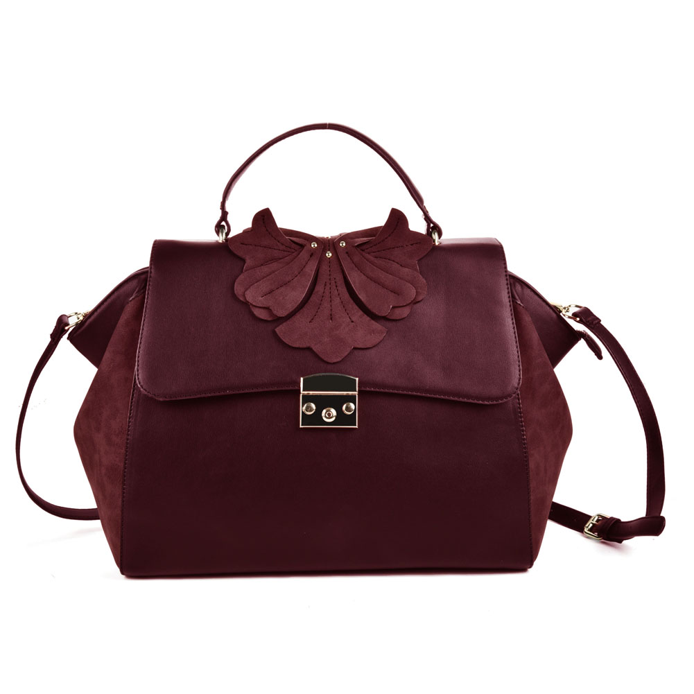 (Orchid) Sally Young Design Lock Front Satchel bag SY2112 Red