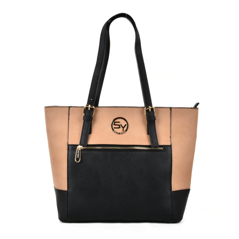 SY2140 Apricot - Patchwork Zip Front Large Tote Bag
