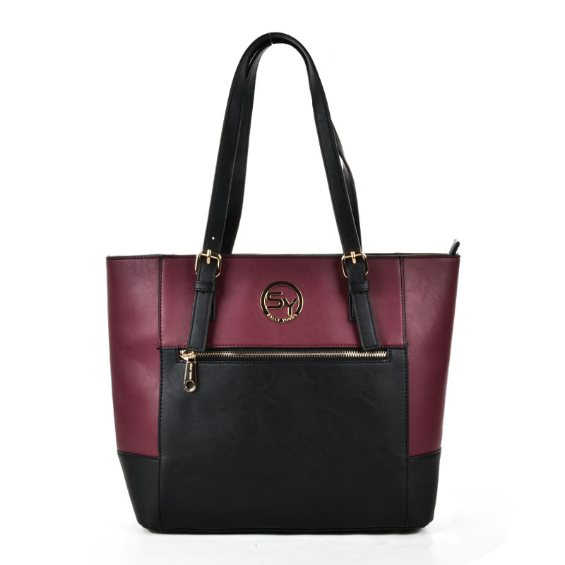SY2140 Red - Patchwork Zip Front Large Tote Bag