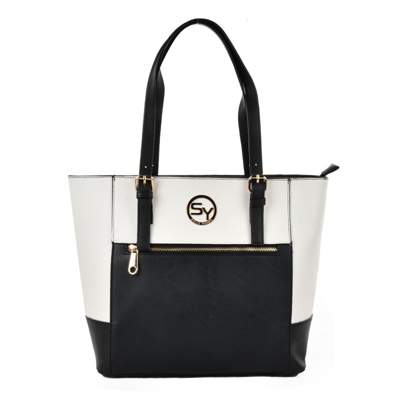SY2140 White - Patchwork Zip Front Large Tote Bag