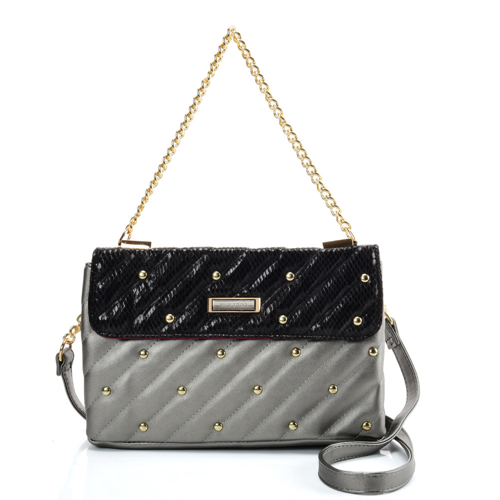 SY2178 Grey - Chain Handbag With Flap and Studs Design