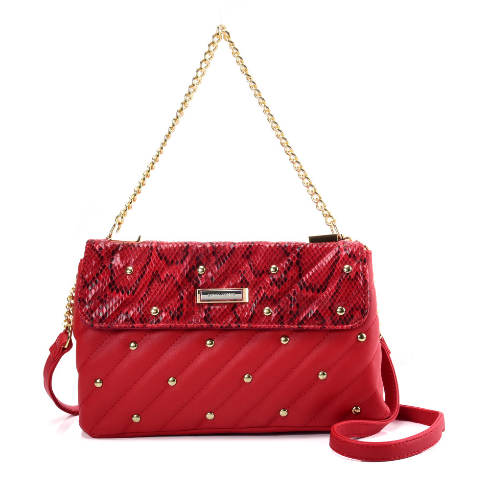 SY2178 Red - Chain Handbag With Flap and Studs Design