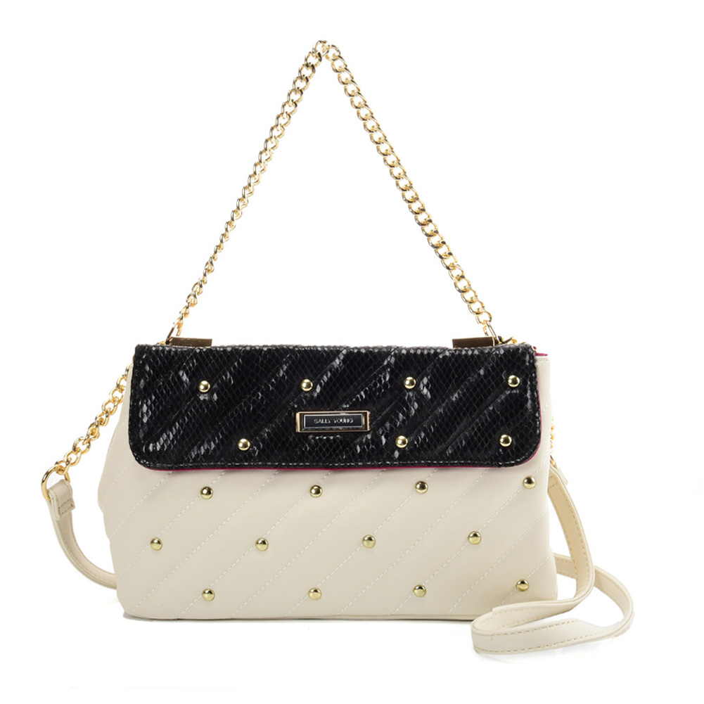 SY2178 White - Chain Handbag With Flap and Studs Design