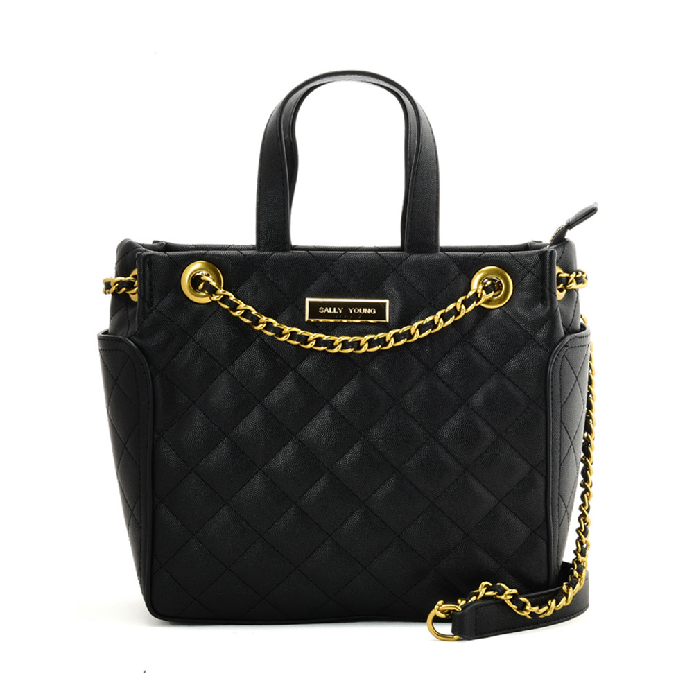 SY2196 BLACK - Solid Color Leather Tote bag With Chain Design