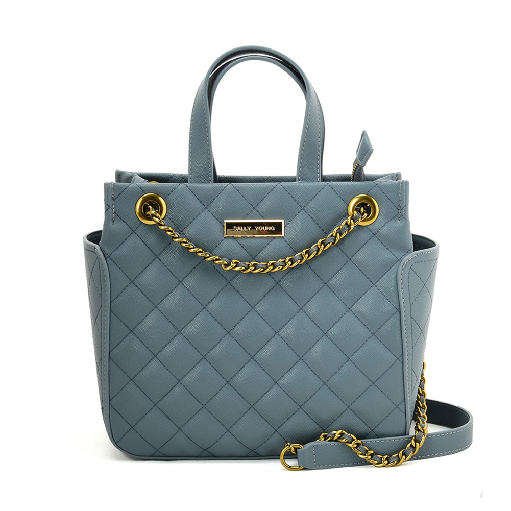 SY2196 BLUE - Solid Color Leather Tote bag With Chain Design