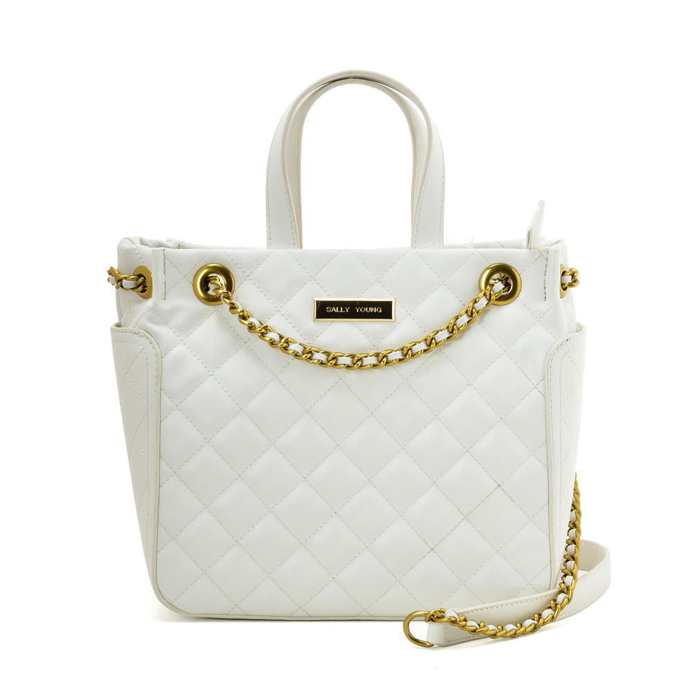 SY2196 WHITE - Solid Color Leather Tote bag With Chain Design