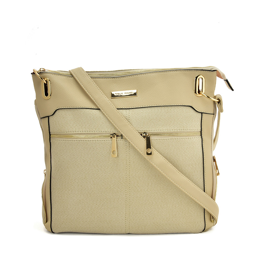 SY2204 BEIGE - Handbag With Symmetrical Zipper Design